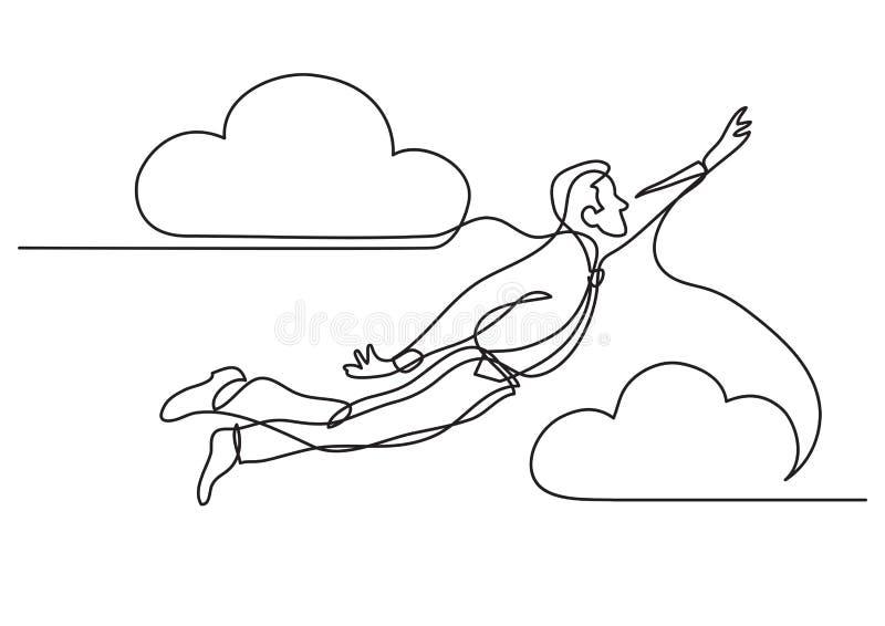 Disegno a tratteggio continuo dell'uomo d'affari - volo nel cielo illustrazione vettoriale