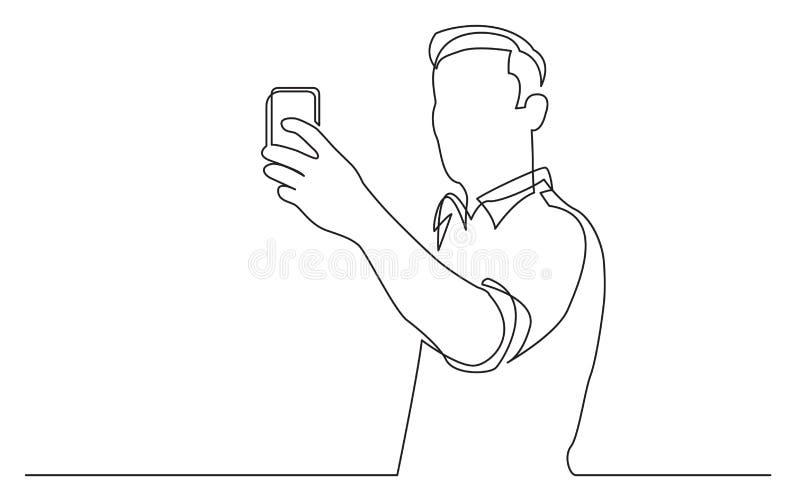 Disegno a tratteggio continuo dell'uomo stante che fa selfie con il suo telefono cellulare royalty illustrazione gratis