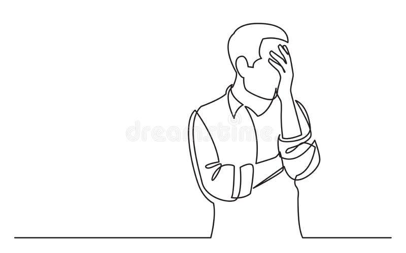 Disegno a tratteggio continuo dell'uomo turbato nella difficoltà illustrazione di stock