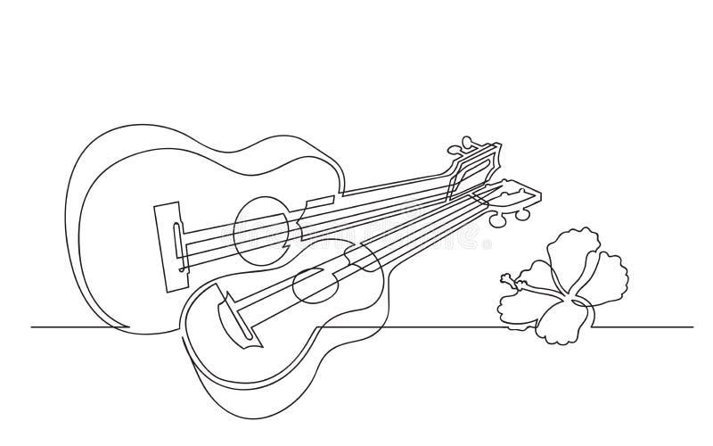 Disegno a tratteggio continuo della chitarra delle ukulele illustrazione vettoriale