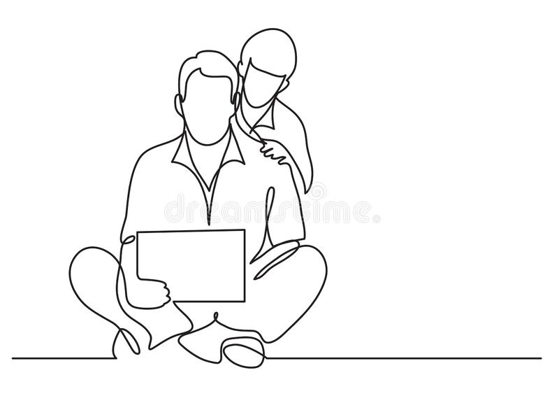 Disegno a tratteggio continuo della compressa di sorveglianza del figlio e del padre illustrazione vettoriale