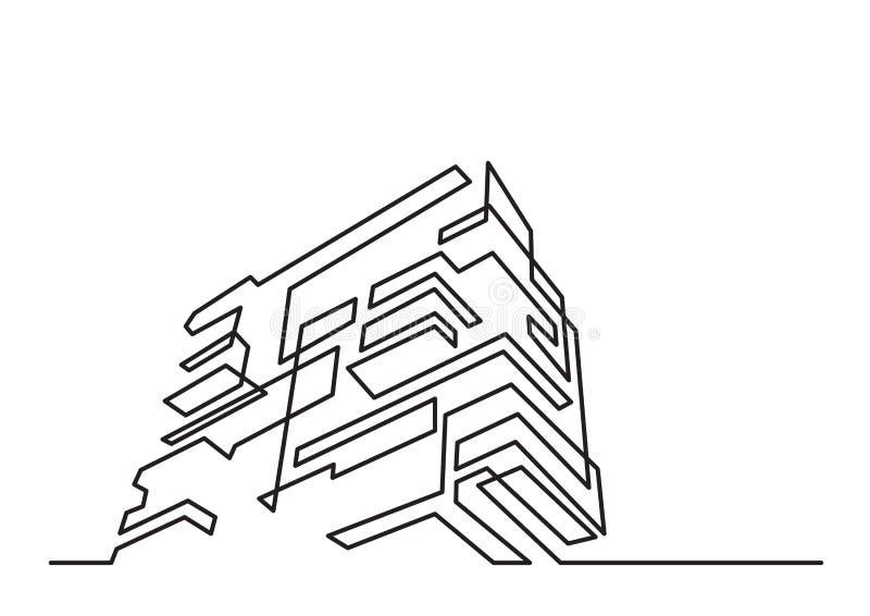 Disegno a tratteggio continuo della costruzione di appartamento moderna illustrazione vettoriale