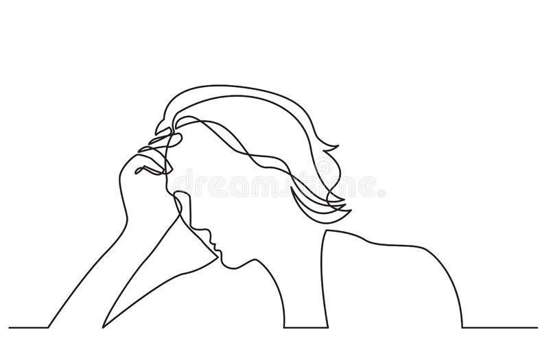 Disegno a tratteggio continuo della donna nella depressione royalty illustrazione gratis
