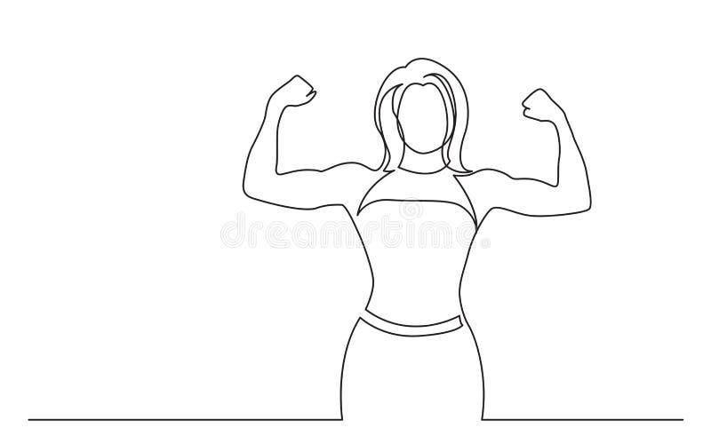 Disegno a tratteggio continuo della donna stante che mostra i forti muscoli illustrazione di stock