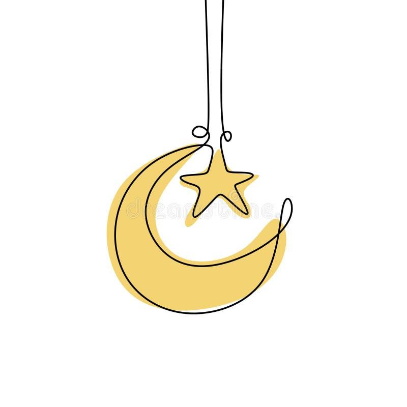 Disegno a tratteggio continuo della luna del Ramadan illustrazione vettoriale