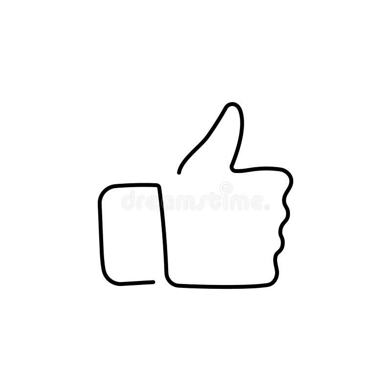 Disegno a tratteggio continuo della mano che mostra grande segno illustrazione di stock