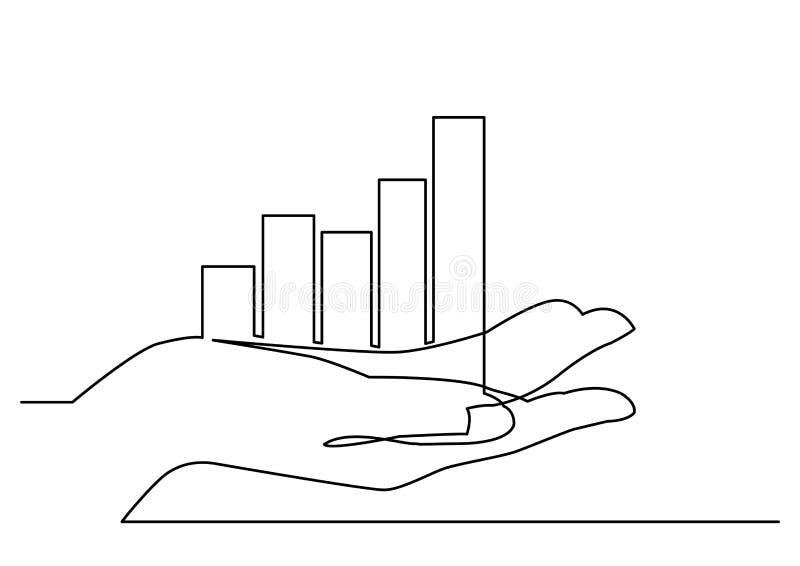 Disegno a tratteggio continuo della mano che mostra il grafico di crescita illustrazione vettoriale