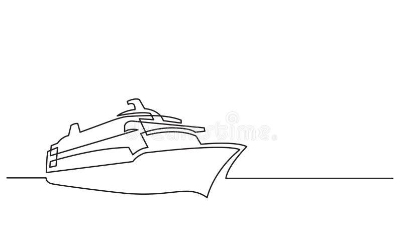 Disegno a tratteggio continuo della nave da crociera royalty illustrazione gratis