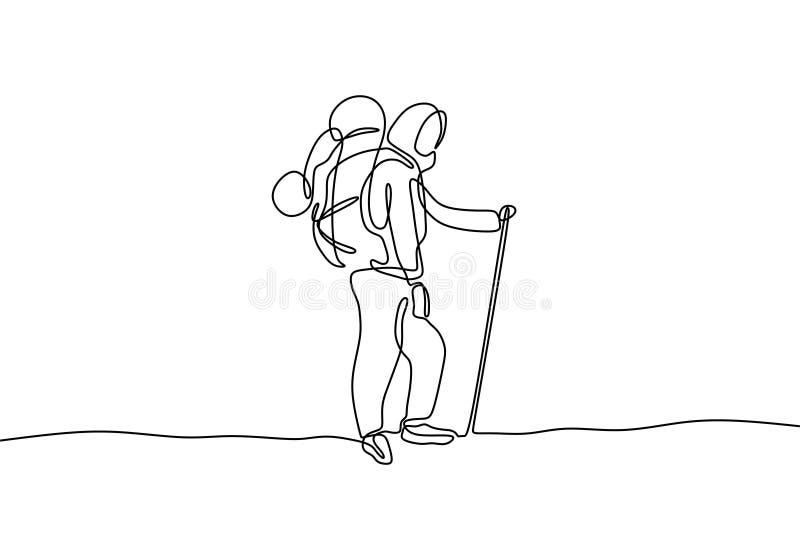 Disegno a tratteggio continuo della ragazza del hijab con lo zaino che fa un'escursione progettazione minimalista illustrazione di stock