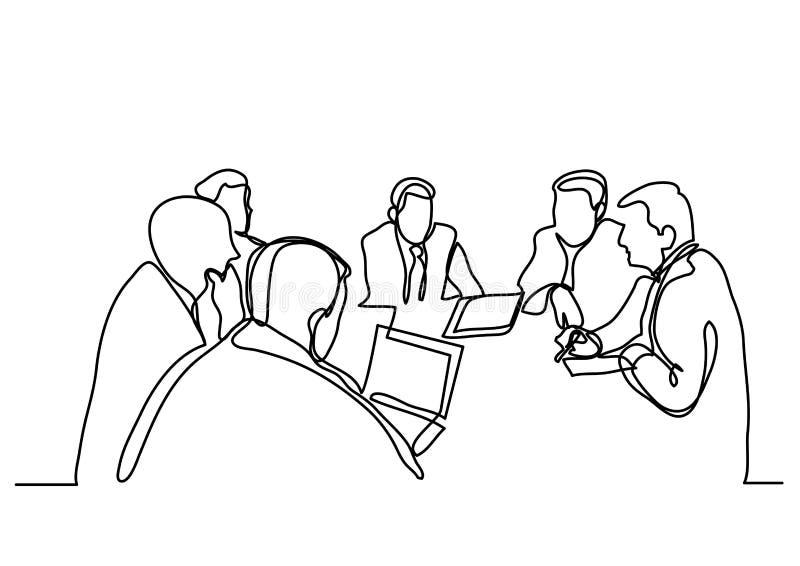 Disegno a tratteggio continuo della riunione d'affari immagine stock libera da diritti