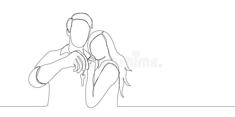 Disegno a tratteggio continuo delle coppie che sono felici tenendo chiave dopo l'acquisto casa o dell'automobile Un illustrazione illustrazione vettoriale
