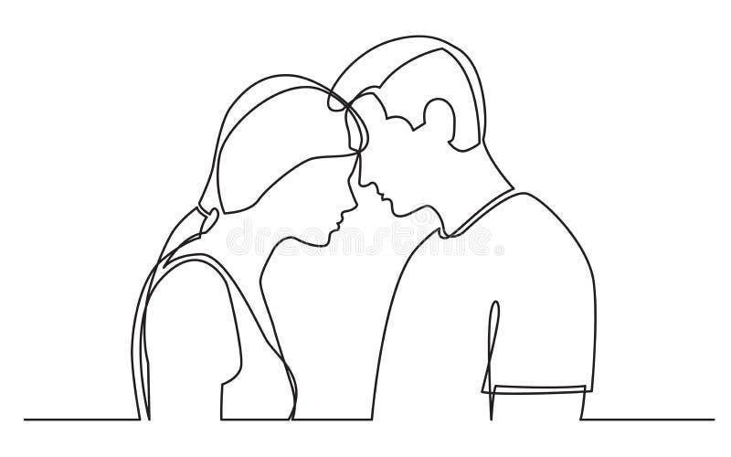 Disegno a tratteggio continuo delle coppie che stanno insieme sul fondo bianco illustrazione vettoriale