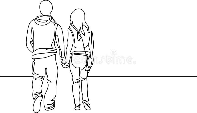 Disegno a tratteggio continuo delle coppie di camminata royalty illustrazione gratis
