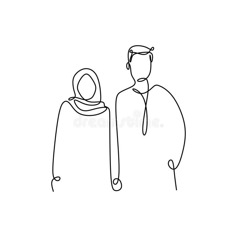 Disegno a tratteggio continuo delle coppie musulmane di uno stile romantico di minimalismo di progettazione della ragazza e dell' illustrazione di stock