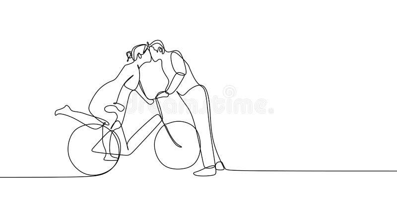 Disegno a tratteggio continuo delle coppie romantiche sveglie nell'illustrazione di vettore della bicicletta di guida di amore royalty illustrazione gratis