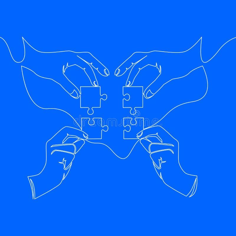Disegno a tratteggio continuo delle mani che risolvono puzzle illustrazione di stock