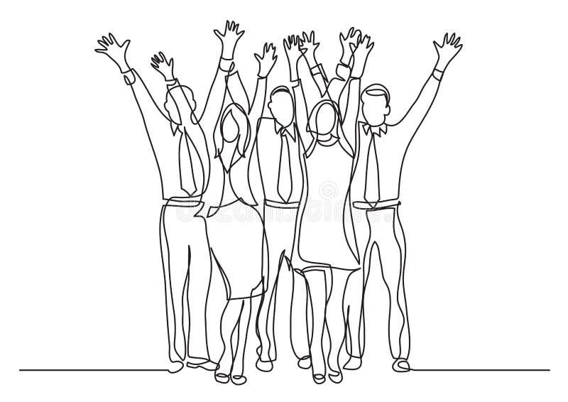 Disegno a tratteggio continuo delle mani d'ondeggiamento incoraggianti stanti del gruppo dell'ufficio royalty illustrazione gratis