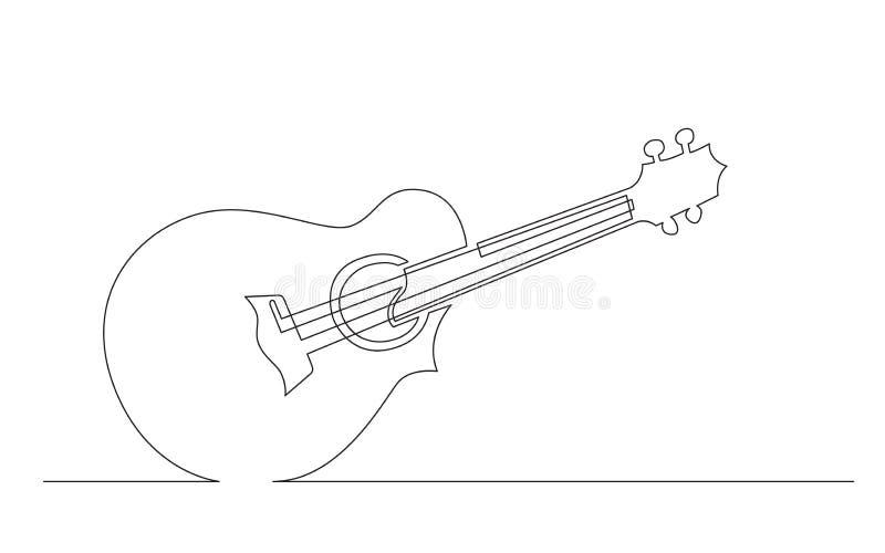 Disegno a tratteggio continuo delle ukulele di concerto con lo spaccato illustrazione vettoriale