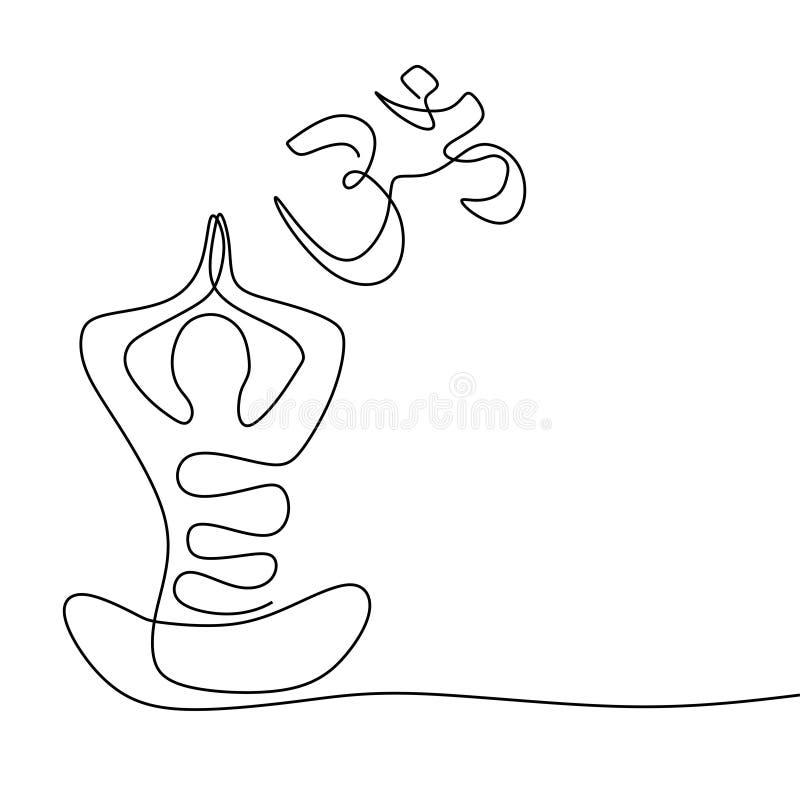Disegno a tratteggio continuo di concetto di Namaste un del simbolo di yoga per la meditazione ed il rilassamento illustrazione vettoriale