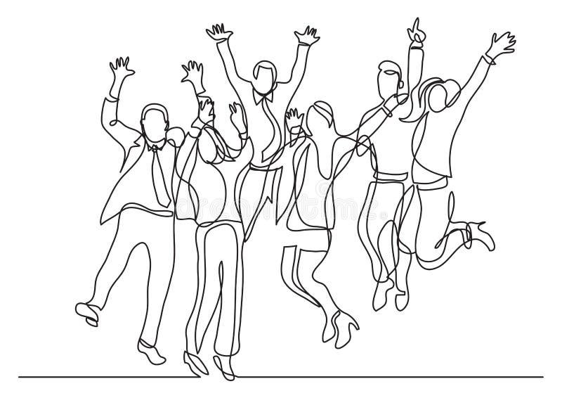 Disegno a tratteggio continuo di gioia di salto del gruppo felice di affari illustrazione di stock