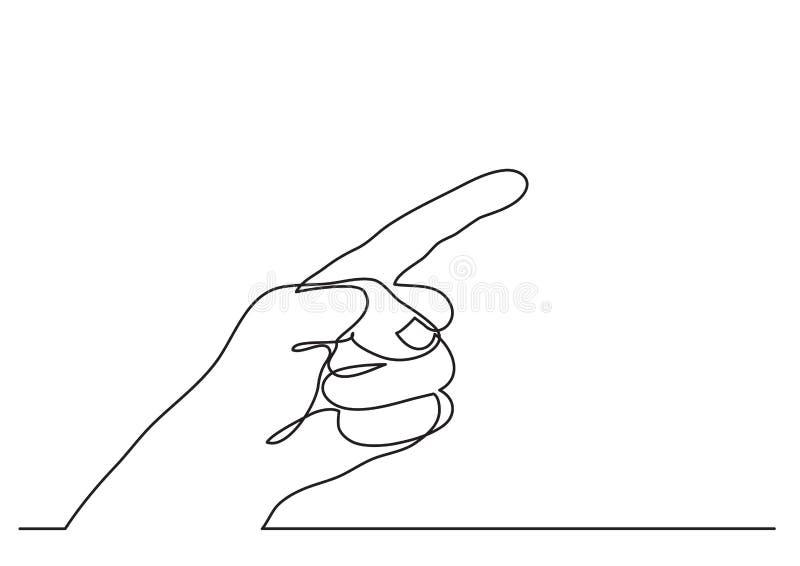 Disegno a tratteggio continuo di indicare gesto del dito illustrazione di stock