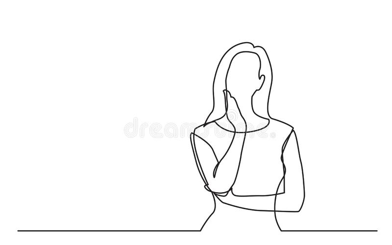 Disegno a tratteggio continuo di pensiero preoccupato della donna illustrazione vettoriale