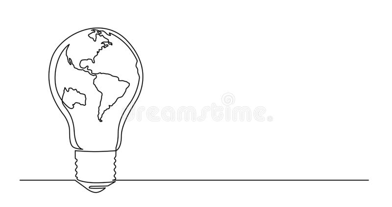 Disegno a tratteggio continuo di pianeta Terra come lampadina illustrazione di stock