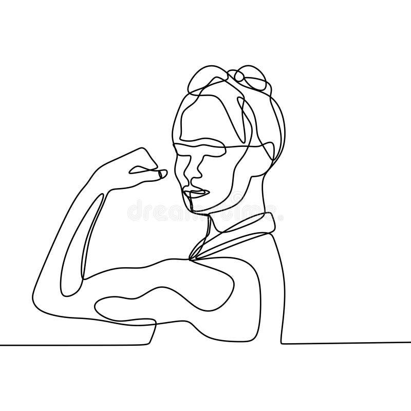 Disegno a tratteggio continuo di potere uno delle donne royalty illustrazione gratis