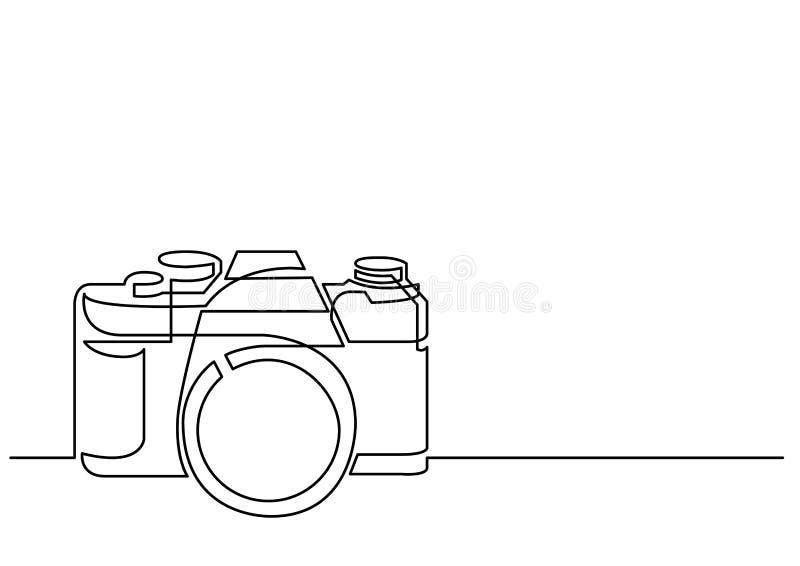 Disegno a tratteggio continuo di retro macchina fotografica della foto illustrazione di stock