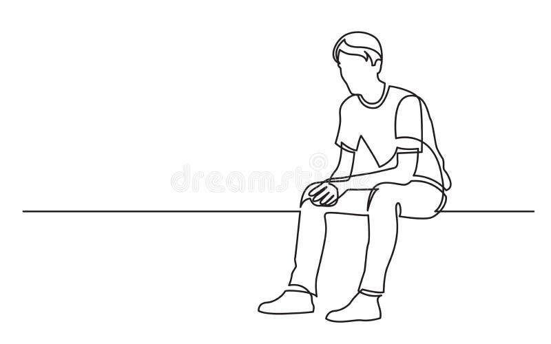 Disegno a tratteggio continuo di seduta del pensiero del giovane illustrazione di stock