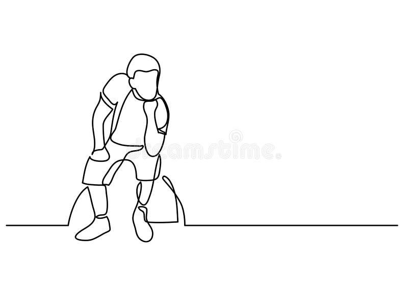 Disegno a tratteggio continuo di seduta depressa dell'uomo illustrazione di stock