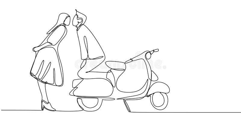 Disegno a tratteggio continuo di un bacio delle coppie con la retro bici del motore del motorino Concetto minimalista creativo d' illustrazione di stock
