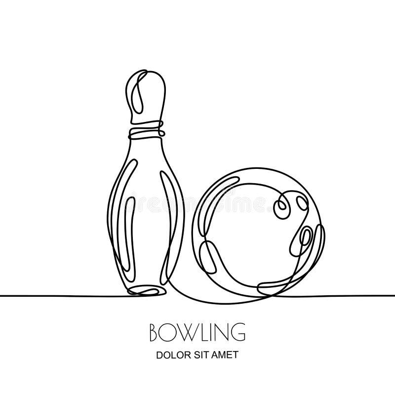 Disegno a tratteggio continuo Vector l'illustrazione nera lineare di palla da bowling e del perno, isolata su fondo bianco illustrazione vettoriale