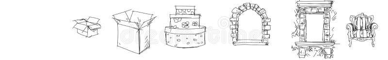disegno a tratteggio dei contenitori aperti e e di regalo vuoti di scatole, presiede la linea arte d'annata di porchwoman e di fi illustrazione vettoriale
