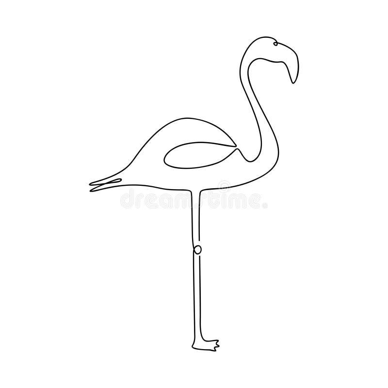 Disegno a tratteggio del fenicottero uno Linea continua uccello tropicale Illustrazione disegnata a mano per il logo, l'emblema e illustrazione vettoriale