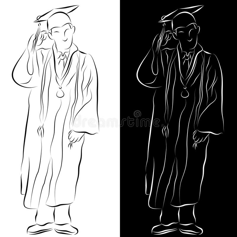 Disegno a tratteggio dell'abito di graduazione illustrazione di stock