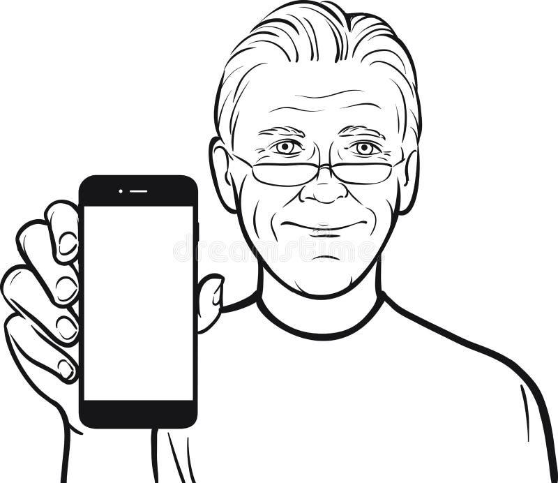Disegno a tratteggio di un uomo senior in vetri che mostrano un cellulare app sopra royalty illustrazione gratis