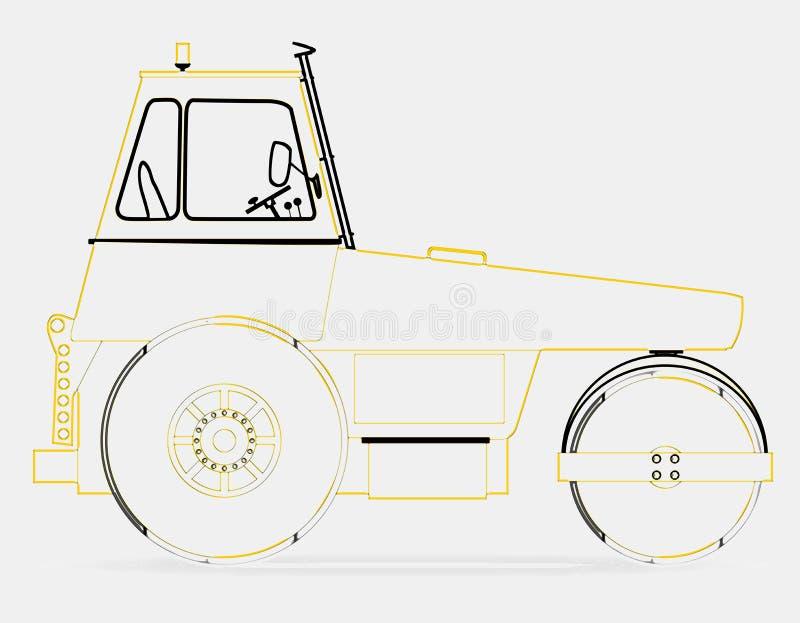 Disegno a tratteggio moderno del rullo compressore royalty illustrazione gratis