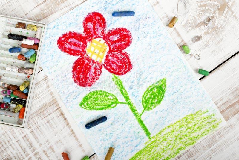 Disegno variopinto - bello fiore rosso fotografie stock libere da diritti