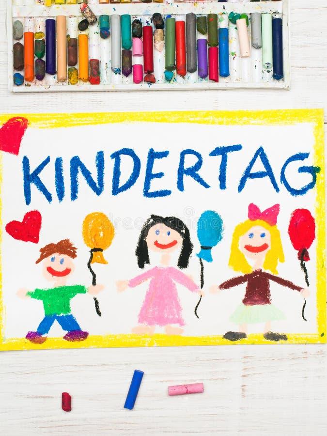Disegno variopinto: Carta tedesca di giorno del ` s dei bambini royalty illustrazione gratis