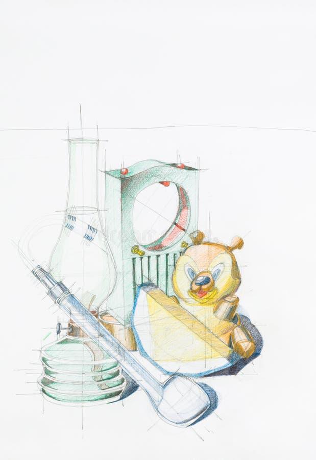 Disegno variopinto degli oggetti differenti illustrazione vettoriale
