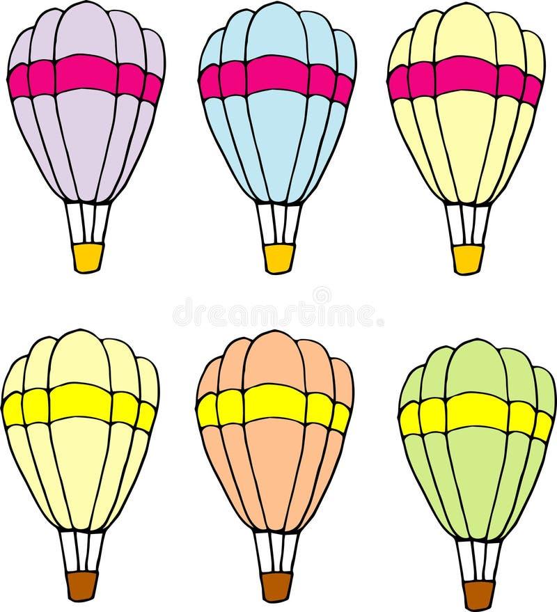 Disegno variopinto di variazioni del paracadute Illustrazione disegnata a mano royalty illustrazione gratis