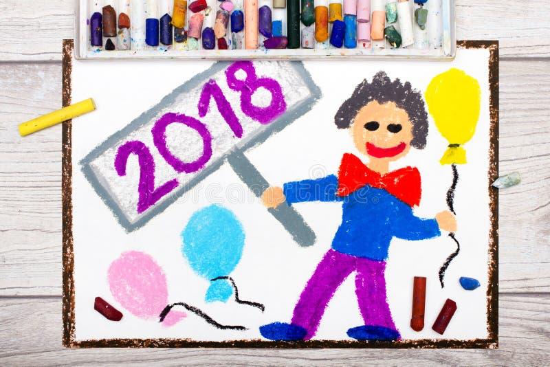 Disegno variopinto: uomo felice con i palloni che celebra il nuovo anno 2018 illustrazione vettoriale