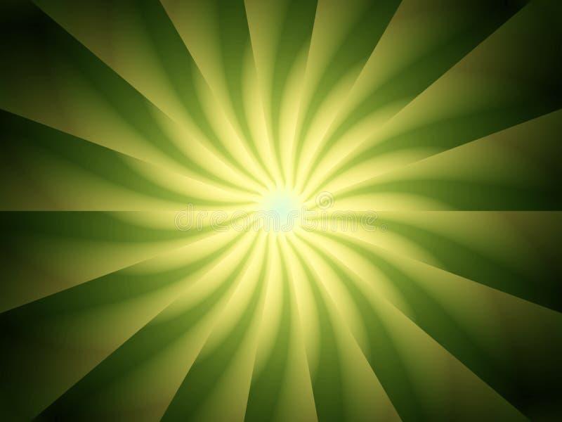 Disegno verde di spirale dei raggi luminosi illustrazione di stock