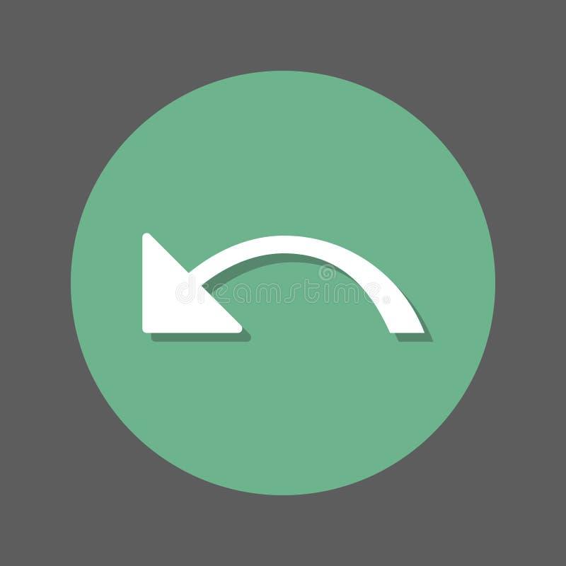 Disfaccia, icona piana della freccia sinistra Bottone variopinto rotondo, segno circolare di vettore con effetto ombra Progettazi illustrazione di stock