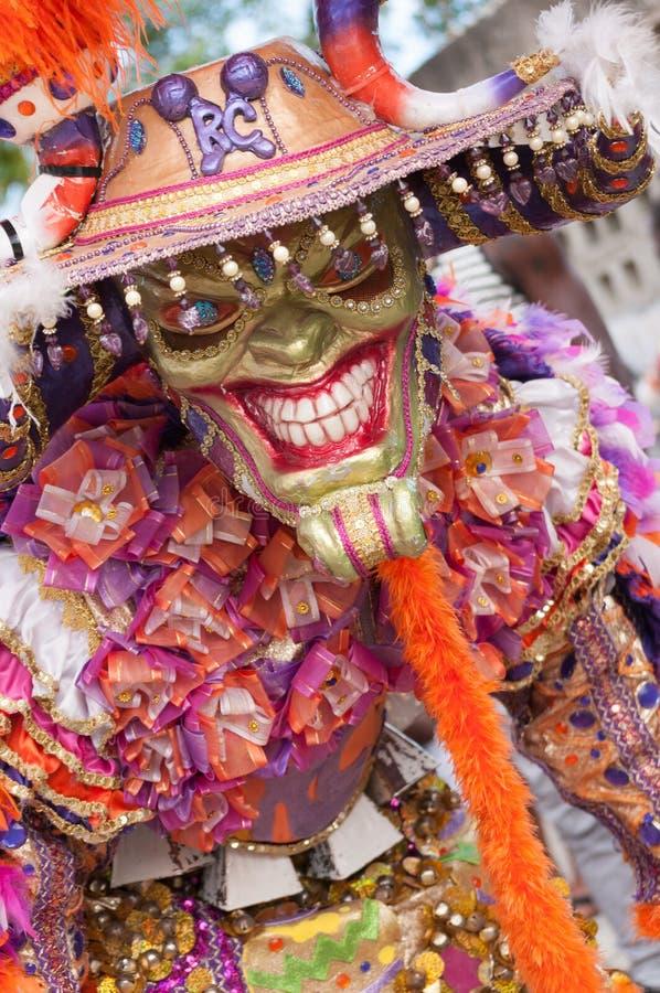 Disfarce do demônio no carnaval de Boca Chica 2015 fotos de stock