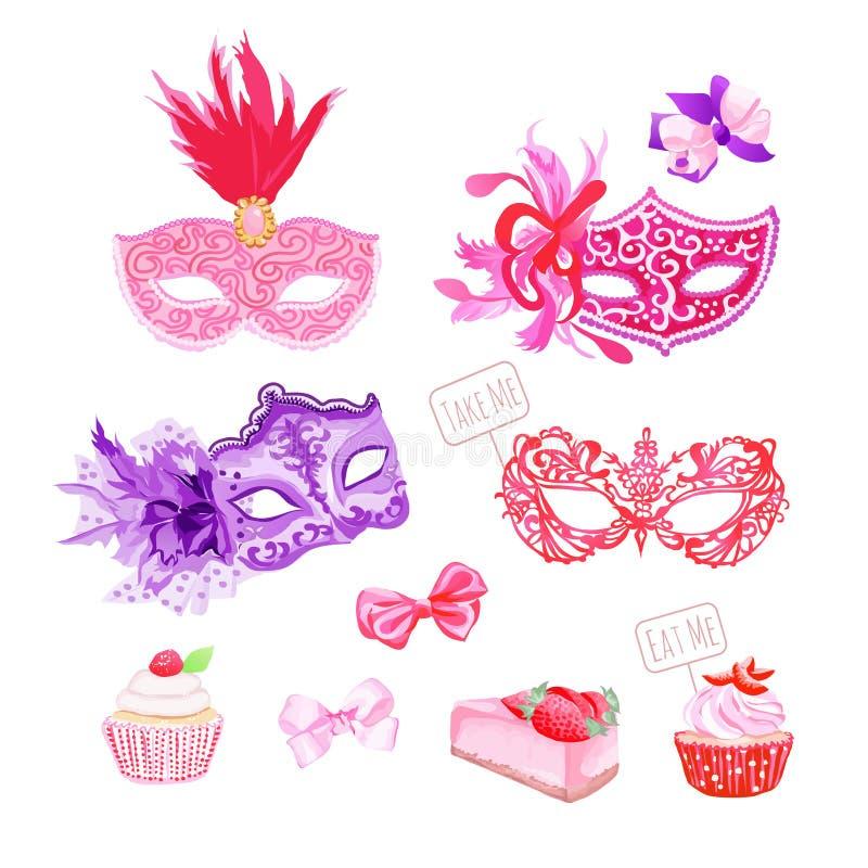 Disfrace las máscaras, arcos, objetos frescos del diseño del vector de los pasteles fijados ilustración del vector
