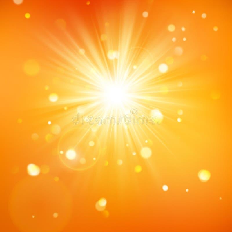 Disfrute de la sol Luz caliente del día Fondo del verano con una explosión caliente del sol con la llamarada de la lente EPS 10 libre illustration