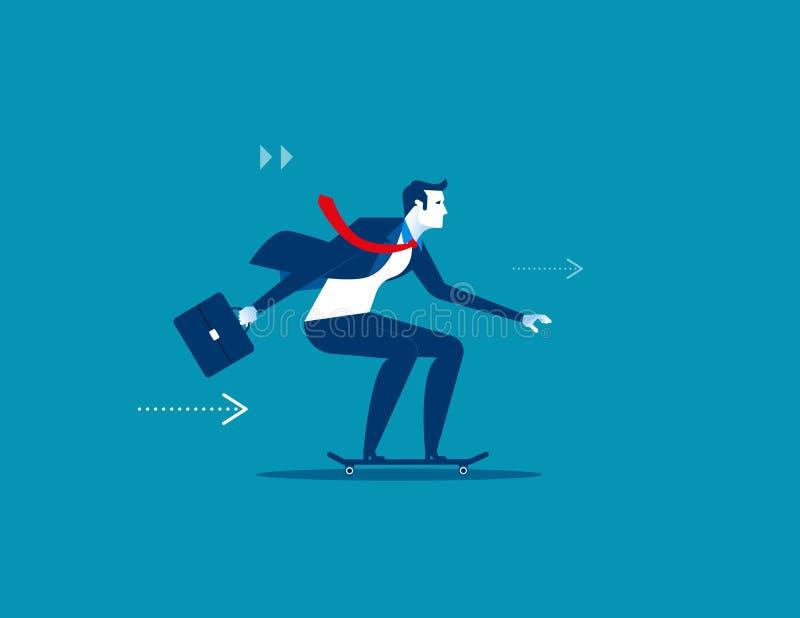 Disfrute de la velocidad Hombre de negocios en el patín Illustr del negocio del concepto stock de ilustración