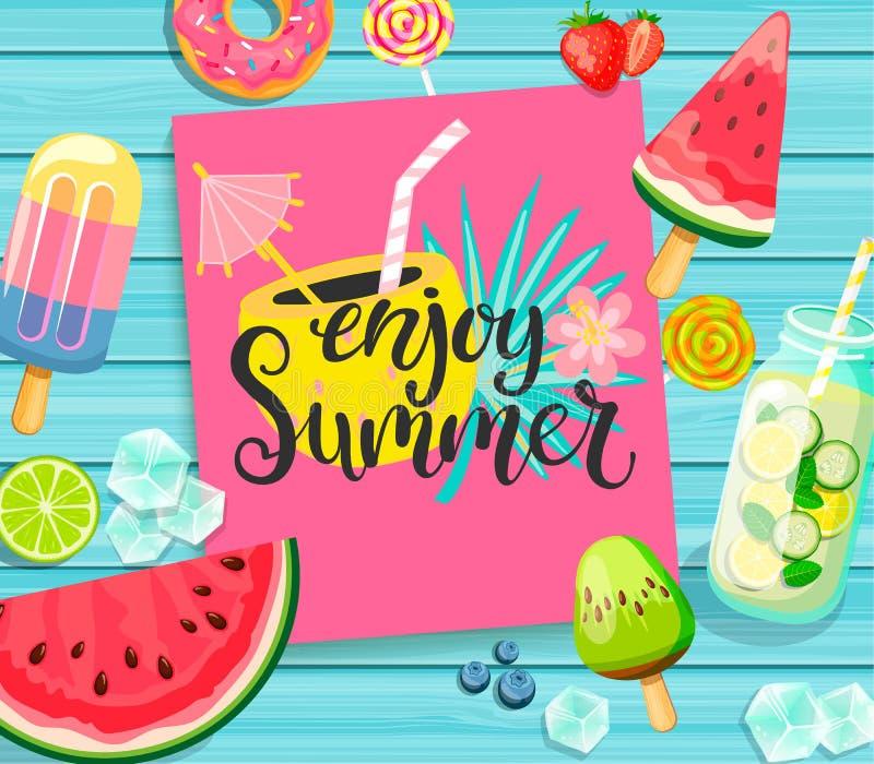 Disfrute de las letras del verano en fondo de madera azul stock de ilustración